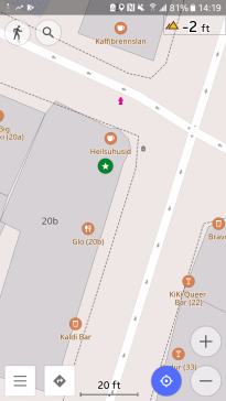 OSM shows restaurant Gló, which is on the second floor, the bar, and the health food store. And the trash can. And the fire hydrant