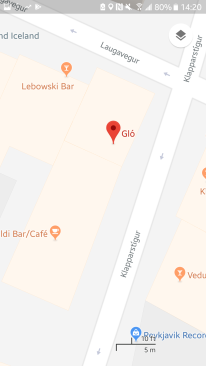 This more commonly used map app on a similar scale shows Gló and the bar, but not the health food store. No trash can. No fire hydrant. I submitted the store, so we'll see